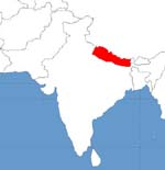 map showing nepal
